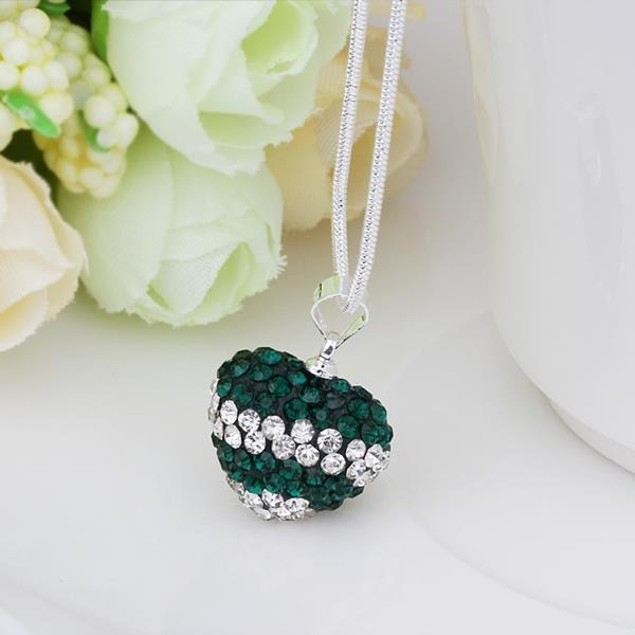 Dark Green Crystal Heart Shaped Necklace