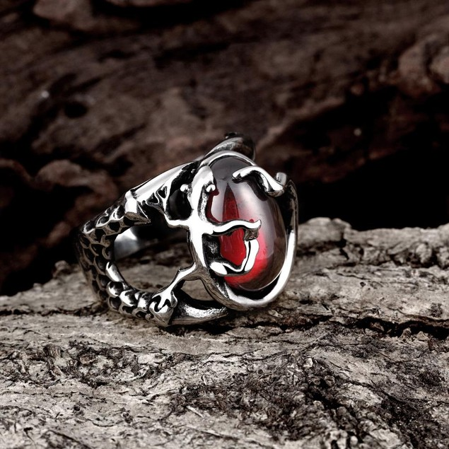 Abstract Ruby Red Stainless Steel Ring