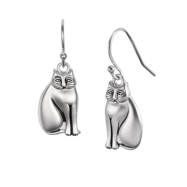 Laurel Burch Mystic Cat Sterling Silver Dangle Womens Dangle Earrings