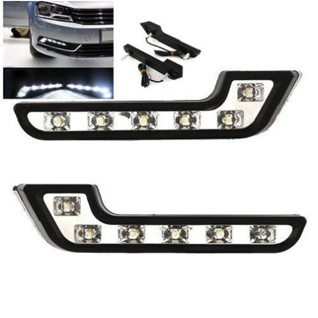 Zone Tech Luxury Super White Car Daytime Running L Shape Fog Lights 6 LED