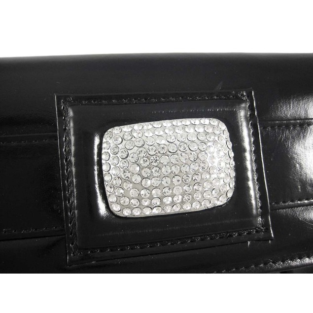 Pleated Black Clutch Purse W/ Rhinestone Accents Womens Clutch Handbags