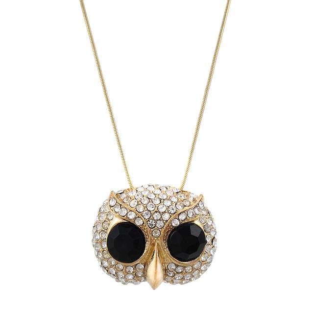 Rhinestone Encrusted Goldtone Owl Face Necklace Chain Necklaces
