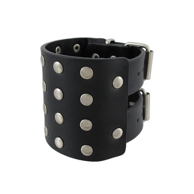 Black Leather Chrome Studded Wristband Bracelet Mens Leather Bracelets