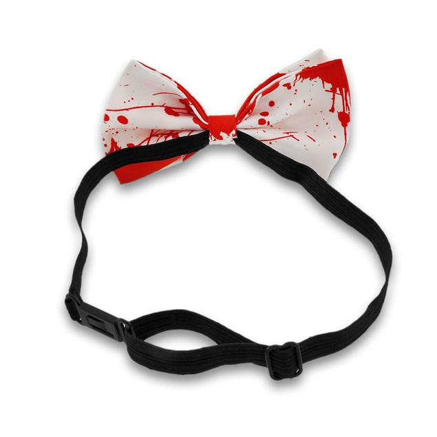 Blood Splattered Adjustable White Bow Tie Mens Bow Ties