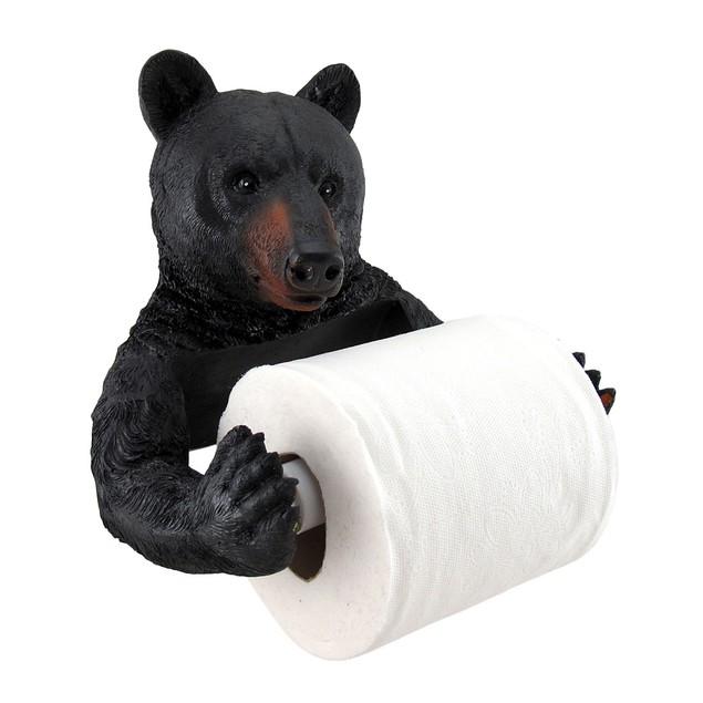 Black Bear Helper Hanging Toilet Paper Holder Toilet Paper Holders
