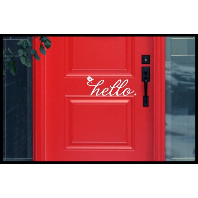 Hello Birdie Door Decal