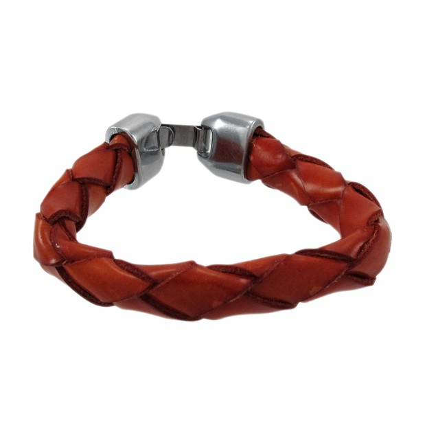 Brown Leather Round Braided Bracelet 7 Inch Womens Leather Bracelets