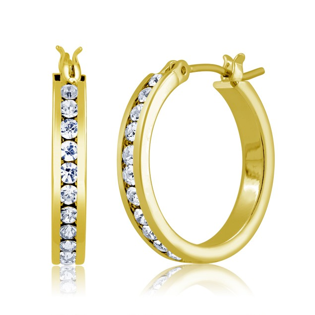 Gold Plated Cubic Zirconia Hoop Earrings