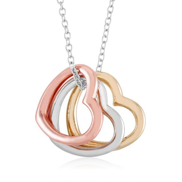 Tri Color Dangling Hearts Necklace