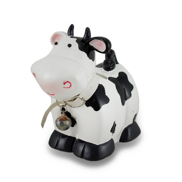 Black And White Cow With Bell Coin Bank Toy Banks