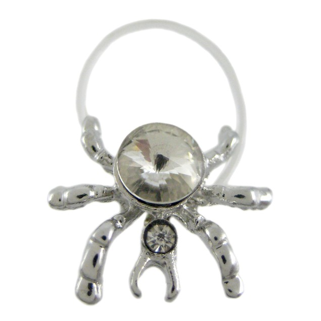 Chrome Plated Clear Rhinestone Spider Illusion Toe Womens Rings