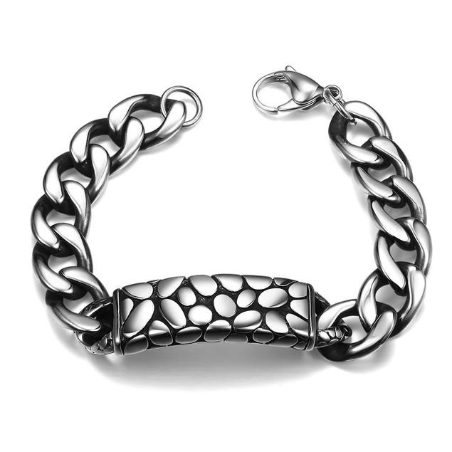 Animal Skin Emblem Stainless Steel Bracelet