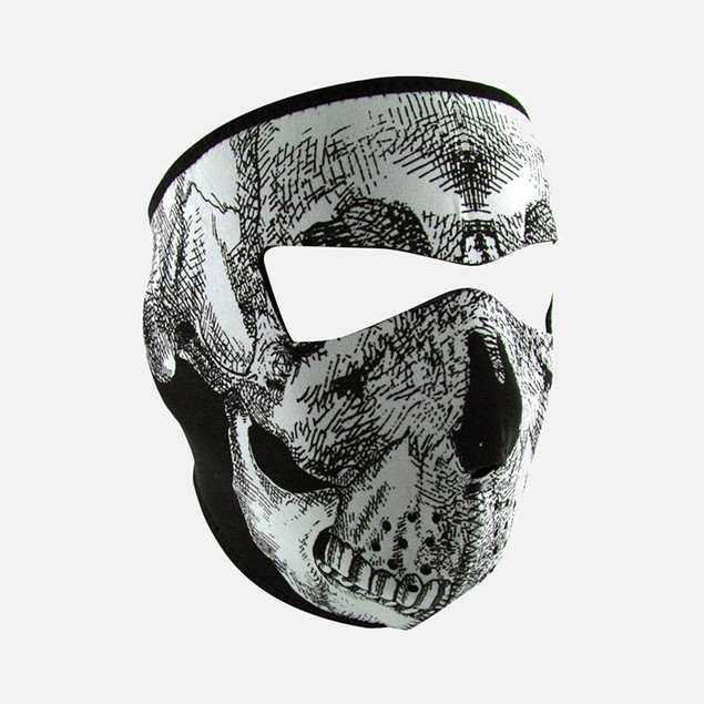 Glow in the Dark Black & White Skull Face Graphical Neoprene Full Face Mask
