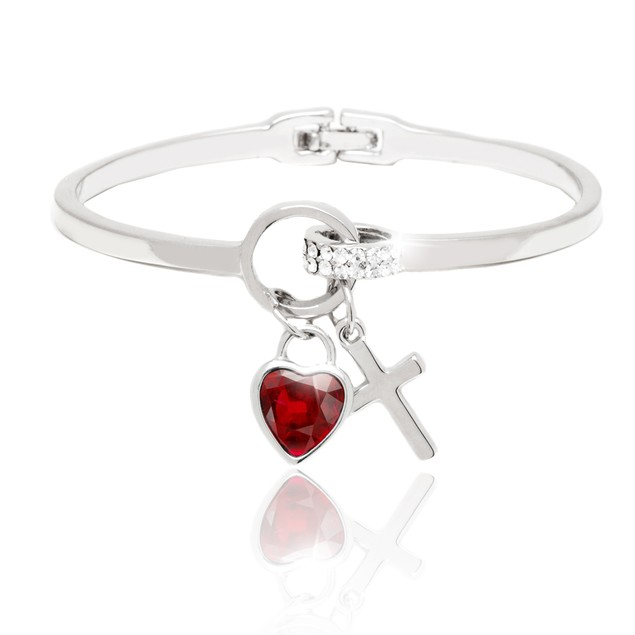 Silver and Ruby Crystal Elements Heart and Cross Charm Cuff