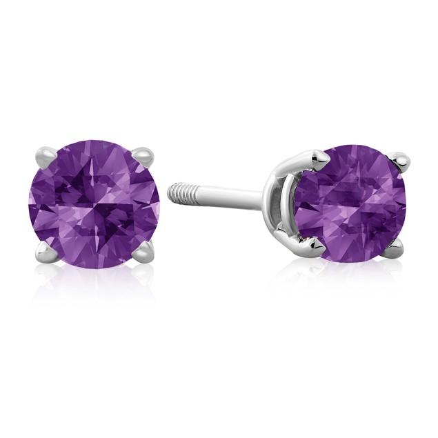 1/2 Carat Amethyst Stud Earrings in 14k White Gold