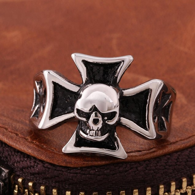 Skull Cross Stainless Steel Ring