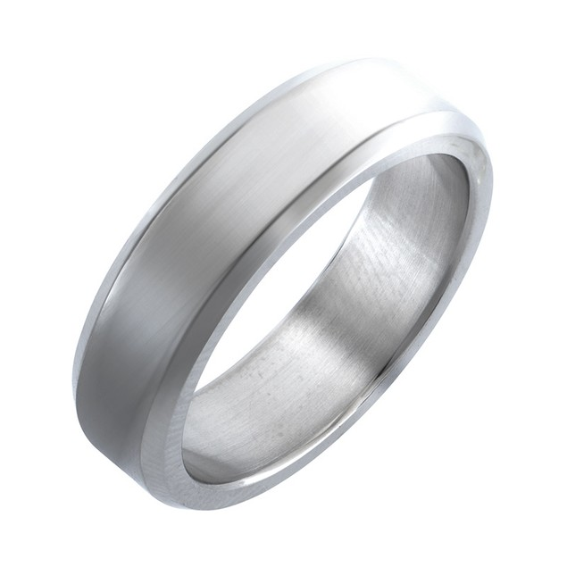 Titanium 7MM Brushed Ring with Beveled Edge