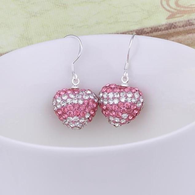 Austrian Stone Pave Heart Drop Earrings - Light Pink