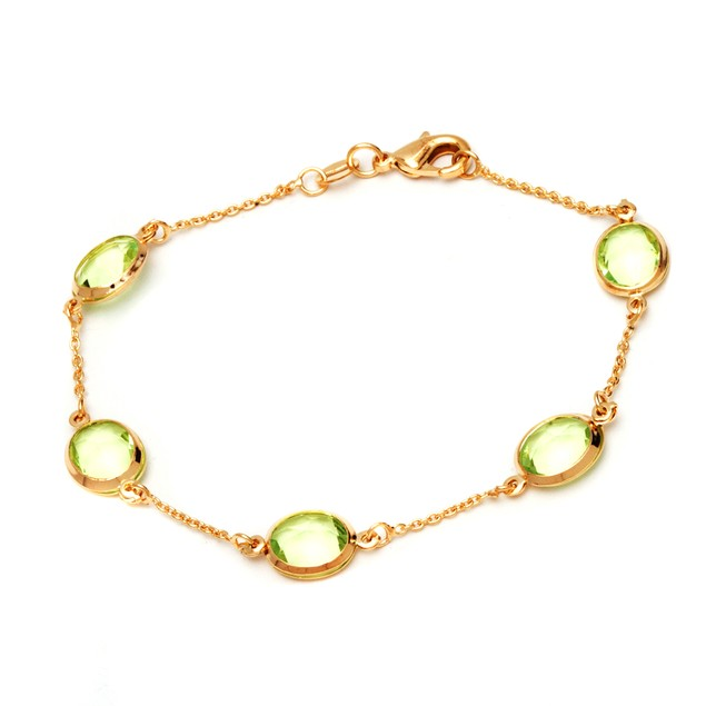 18K Gold and Peridot Beads Bracelet