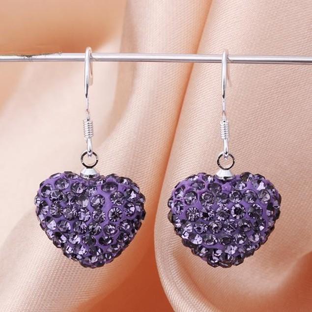 Heart Shaped Solid Austrian Stone Drop Earrings - Dark Lavender