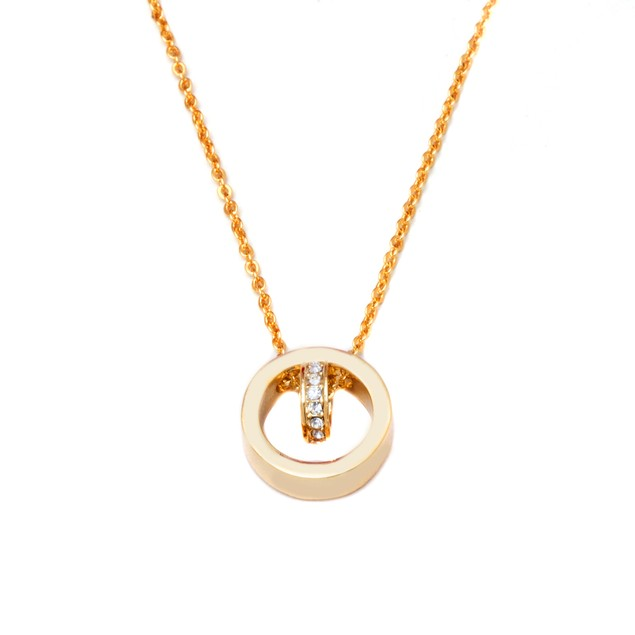Gold & Crystal Ring Necklace Made with Swarovski Elements