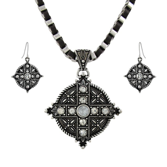 Marcasite Rhinestone Equal Armed Cross Necklace Womens Earring And Necklace
