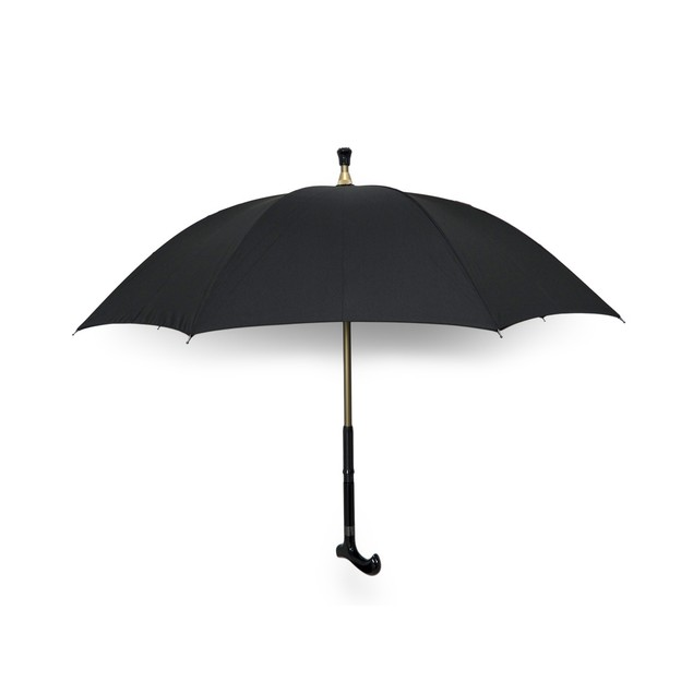 Black Nylon Umbrella W/Hidden Extractable Walking Walking Canes