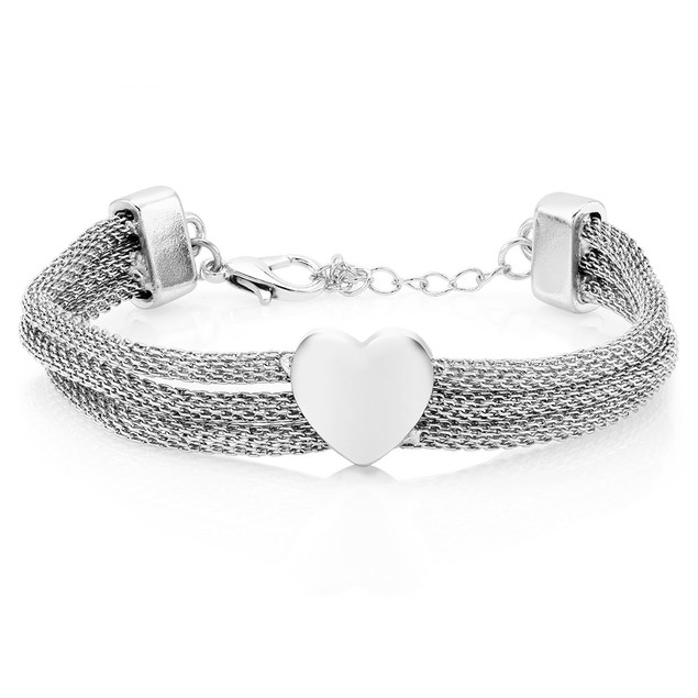 Triple Row Mesh Heart Bracelet - 3 Colors