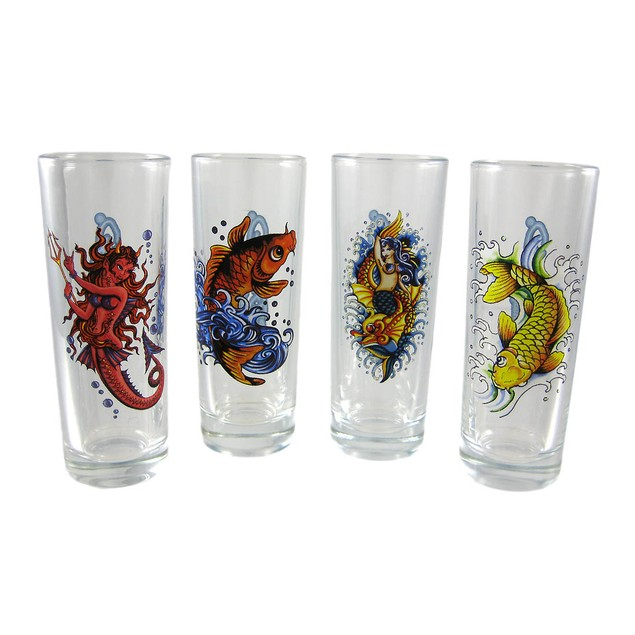 Set Of 4 Ed Hardy Ocean Tattoo Tall Shooter Shot Glasses