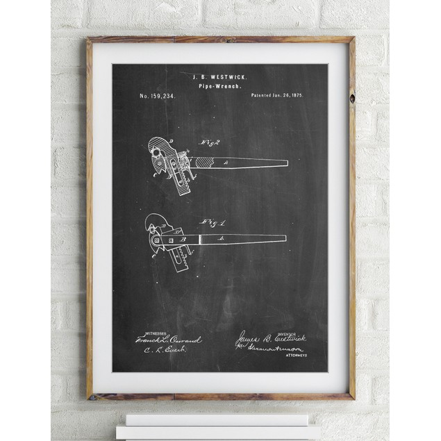 Pipe Wrench Patent Wall Art Poster
