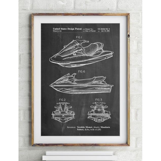 Kawasaki Water Scooter Patent Poster
