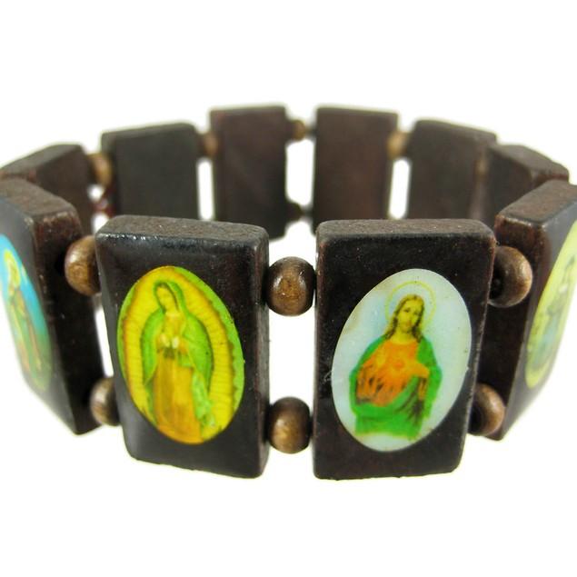 Brown Wooden Bead Religious Scene Stretch Bracelet Womens Stretch Bracelets