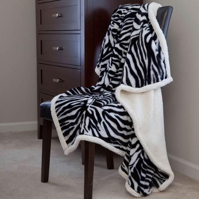 Lavish Home Fleece Sherpa Throw - Zebra