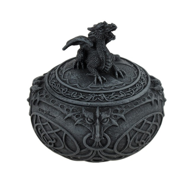Bronze Finish Dragon Globular Shaped Trinket Box Decorative Boxes