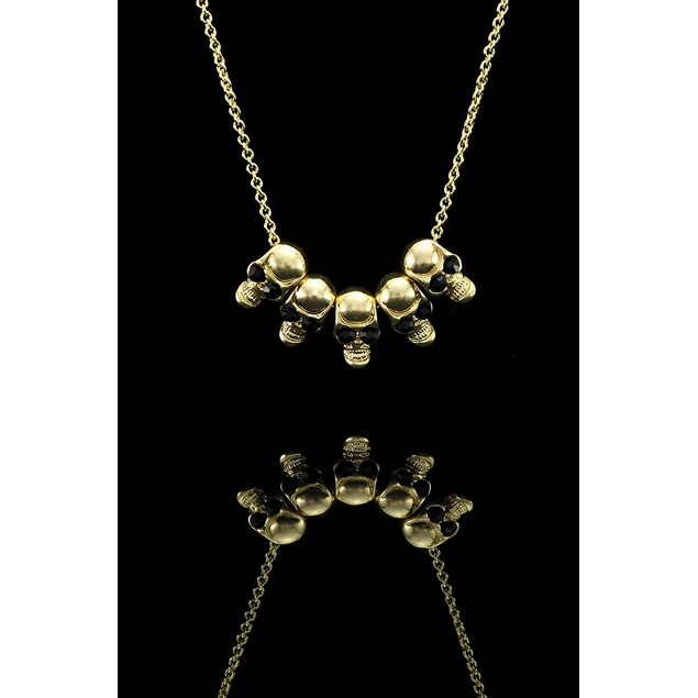 Gold Tone Skull Bead Necklace And Earrings Set Womens Earring And Necklace