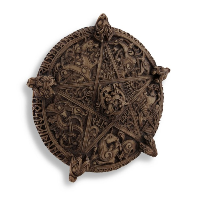 Ornate Carved Knot-Work Pentacle Wall Art Hanging Decorative Plaques