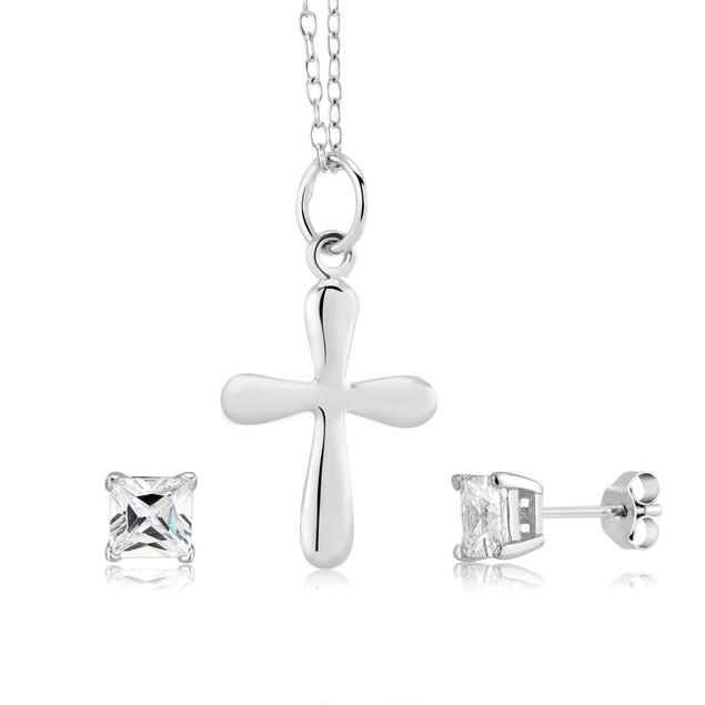 Sterling Silver Cross Necklace & CZ Stud Earring Set