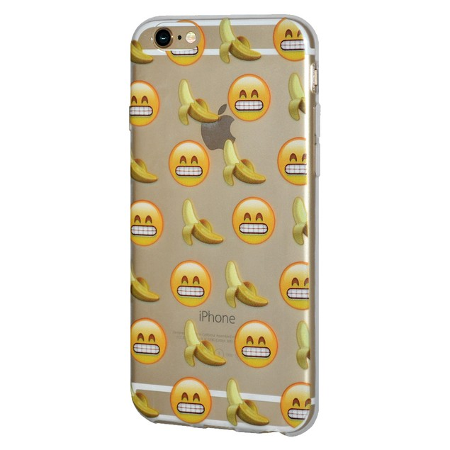 Soft Gel Graphic Emoji TPU Skin Case for iPhone 7 - Bananas Grin