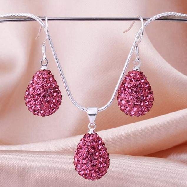 Austrian Stone Solid-Pave Pear Earring and Necklace Set - Pink Crystal