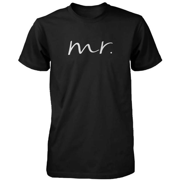 Matching Couple Shirts - Mr and Mrs Cursive Writing Black Cotton T-shirt