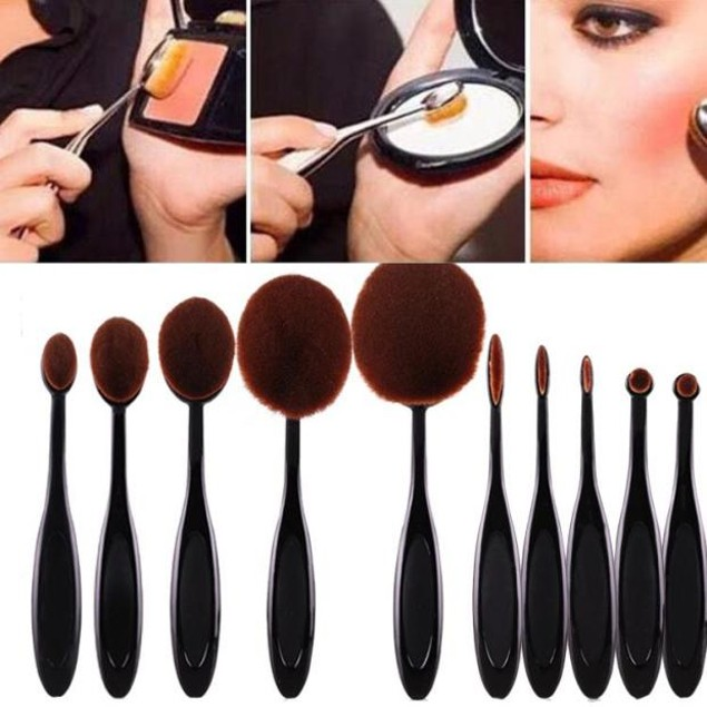 10-Piece Eyebrow Foundation Eyeliner Lip Oval Brushes Set