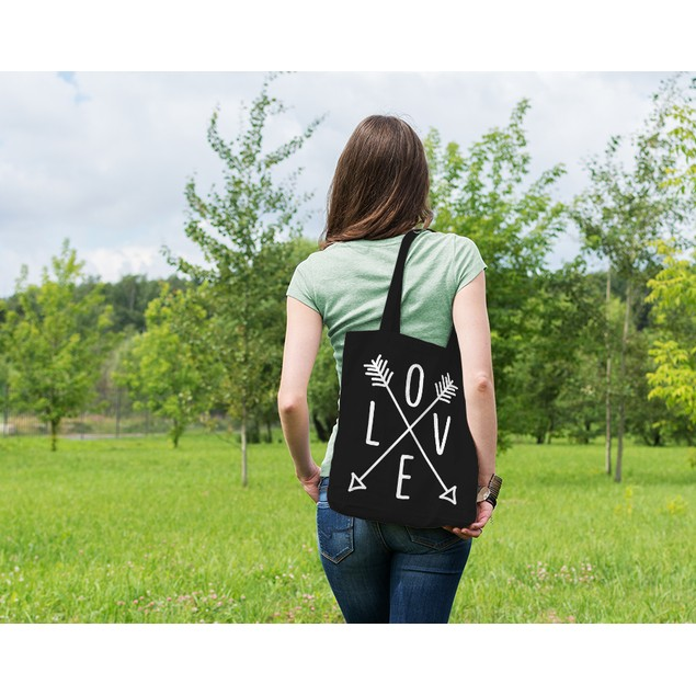 Love Arrows Black Tote Bag
