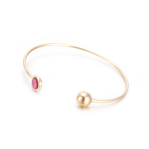 Gold Plated Beverly Hills Vivid Coral Gem Inspired Open Ended Bangle