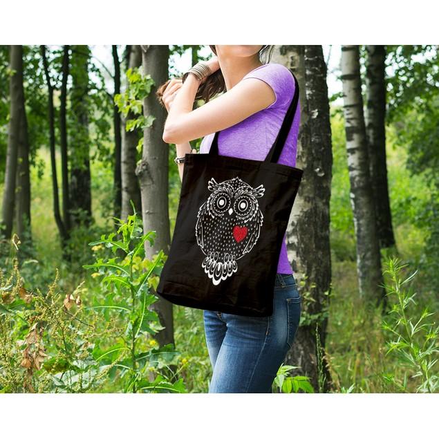 Owl Heart Black Tote Bag