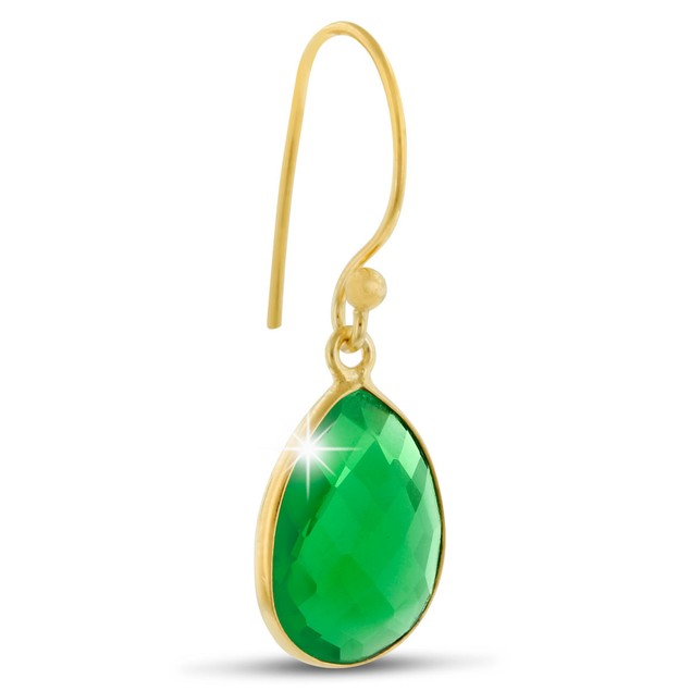 Gold Tone 12ct Emerald Quartz Pear Shape Earrings
