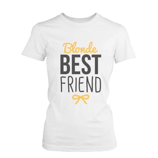 Best Friend Blonde and Brunette Best Friends Matching BFF White Shirts