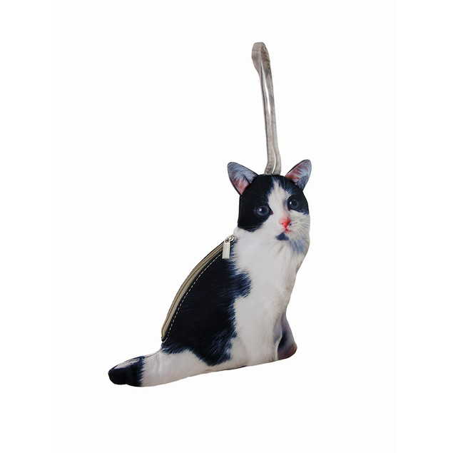 Realistic Black And White Cat Shaped Wristlet Womens Wristlet Handbags