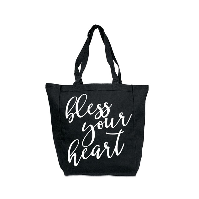 Bless Your Heart Black Tote Bag