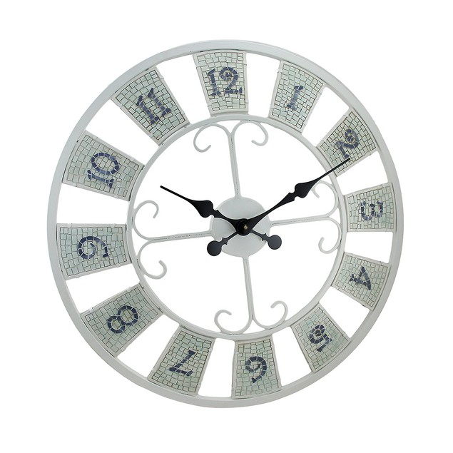 White Mosaic Tile Decorative Wall Clock 23 In. Wall Clocks