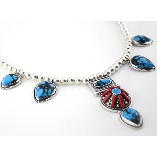 Boho Chic Deep Blue Turquoise Necklace Set